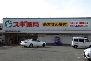 調剤併設型のドラッグストアであるスギ薬局 豊中庄内店。処方せん持参とともに、買物ができる利便性で顧客を獲得